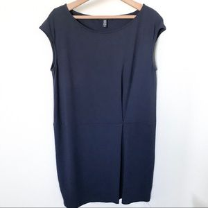 Eileen Fisher Navy Tencel Pleated Dress